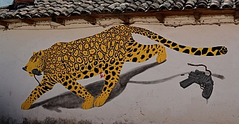 Jaguar graffiti in San Cristobal de las Casas, Chiapas, Mexico