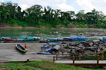 Yaxchilan & Bonampak Tour - Boats waiting to take tourists to the ruins upriver.