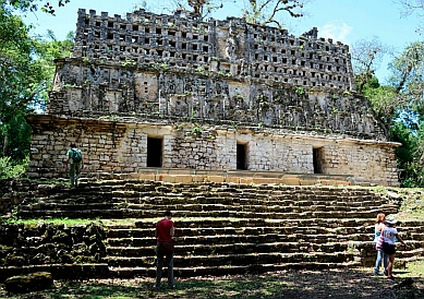 Yaxchilan & Bonampak Tour - Structure 33.  When built by Bird Jaguar (752-772), this made quite a sight from the river.