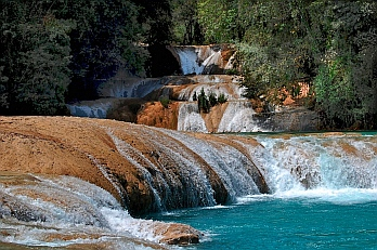 Tumbling into turquoise pools, Agua Azul waterfalls, Chiapas, Mexico