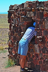 We hike down to Agate house at Petrified Forest National Park, Arizona.