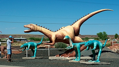 Dinosaur displays at Jim Gray's Petrified Wood Company, Holbrook, Arizona.