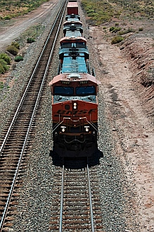 The Santa Fe Railroad rumbles beneath us at Petrified Forest National Park, Arizona.