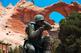 Navajo Code Talker statue at Window Rock, Arizona.