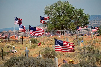 Show of patriotism at a cemetery outside Window Rock on Indian Route 12, Arizona.