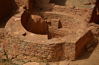 The Ansazi built round walls as well as straight ones at The Tower House, Mesa Verde Nat'l Park