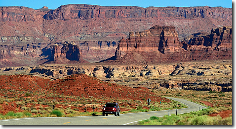 Driving through Glen Canyon on the Bicentennial Highway, Route 95 Utah.