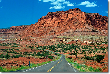 Driving along Capitol Reef National Park, Utah.