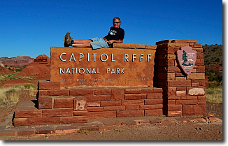 Capitol Reef National Park captivated us with its natural afternoon light show at Sunset Point, its Mormon history at the Pioneer Register and the natural rock Hickman Bridge.