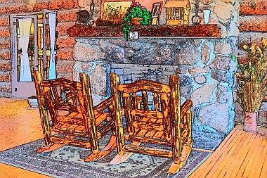 Cozy fireplace and log rocking chairs at Fish Lake Lodge, Utah.