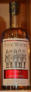 Five Wives vodka bottle.