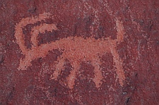 Petroglyphs on Atlatl Rock at Valley of Fire State Park, Las Vegas, Nevada
