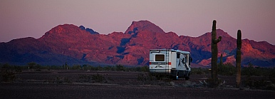 A boondocked RV in Quartzsite, AZ